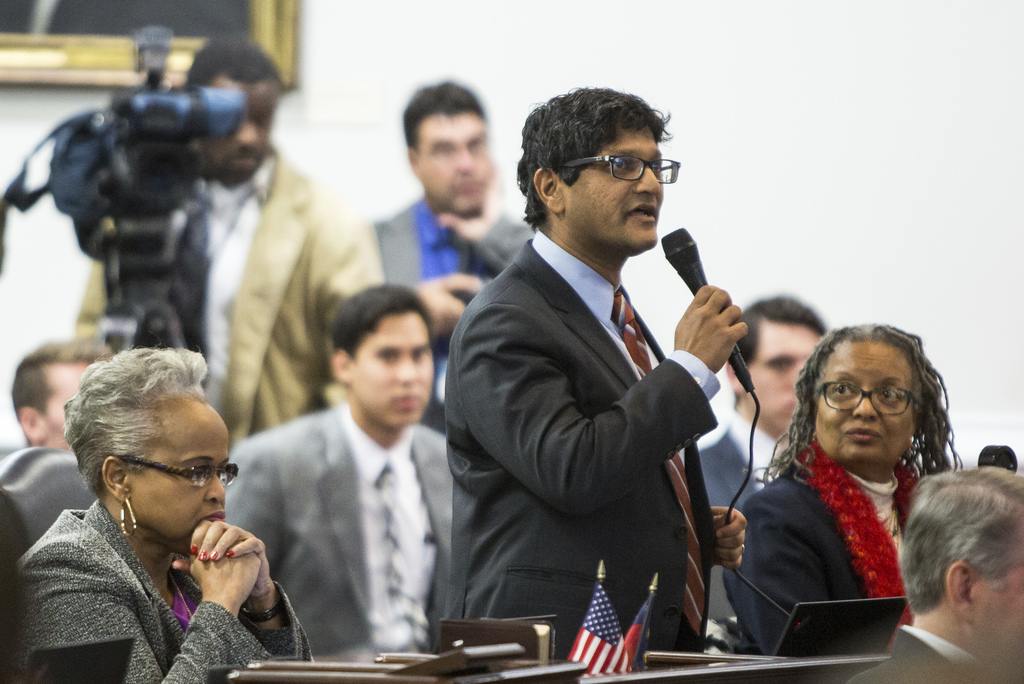 State Sen. Jay Chaudhuri, D-Wake, speaks on the senate floor during a special session of the North Carolina General Assembly called to ...