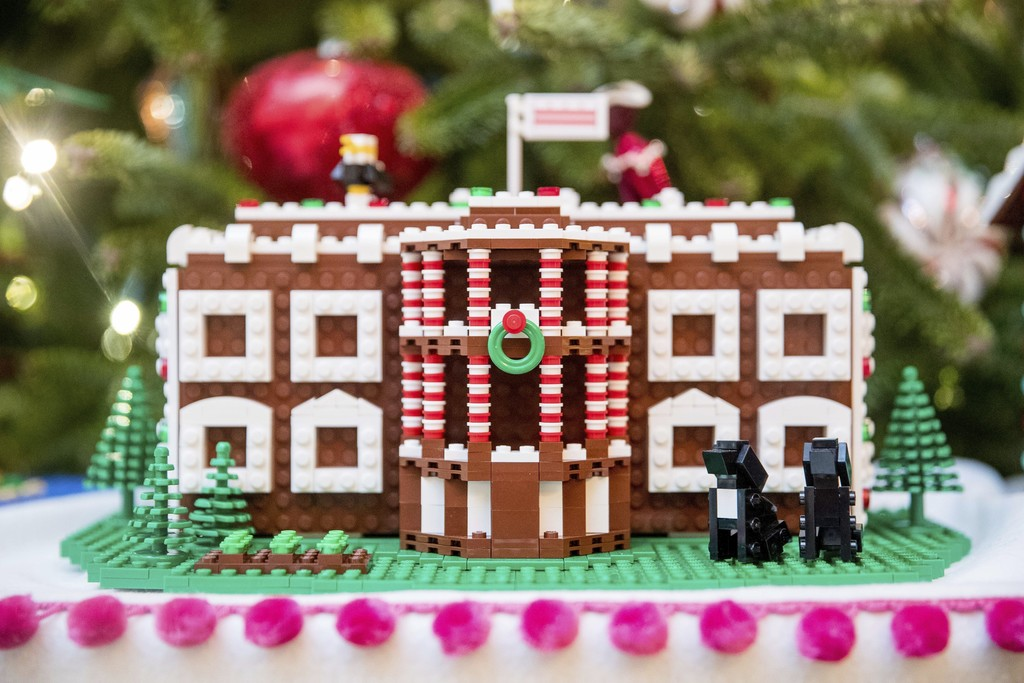 FILE -  In this Tuesday, Nov. 29, 2016 file photo a LEGO model of the White House, one of fifty-six LEGO gingerbread houses, one for ea...