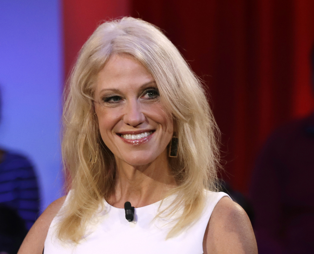 In this Dec. 1, 2016 photo, Kellyanne Conway, Trump-Pence campaign manager, is shown prior to a forum at Harvard University's Kennedy S...