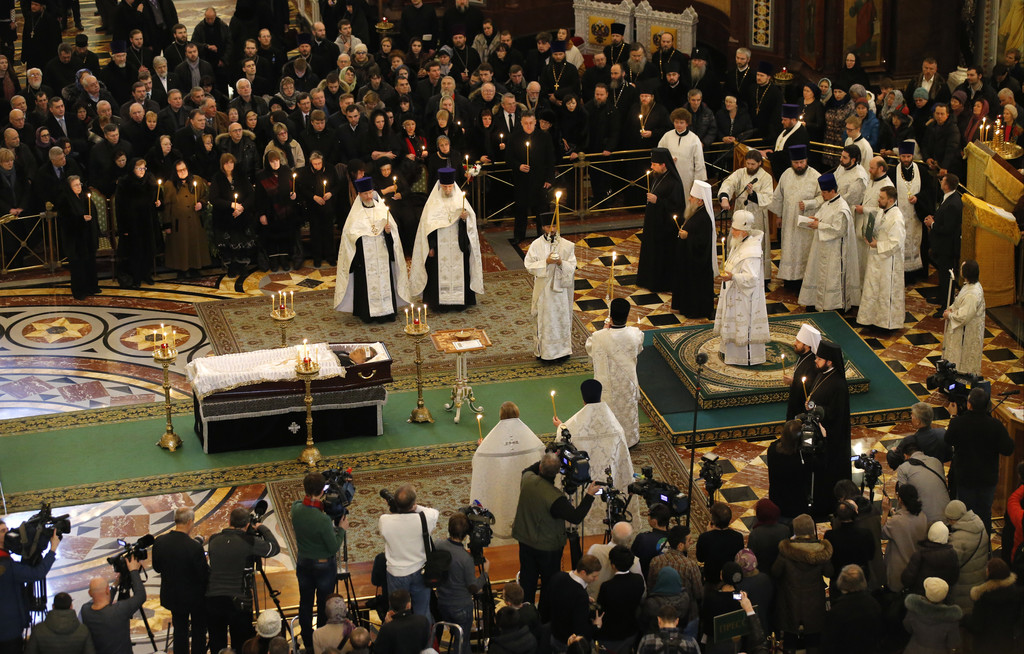 Russian Orthodox Church Patriarch Krill, on podium, conducts a religious service for killed Russian ambassador to Turkey, Andrei Karlov...