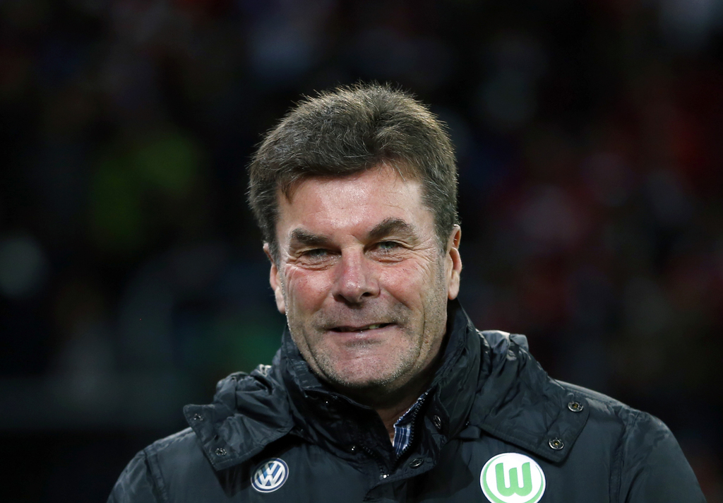 FILE - In this Nov. 29, 2015 file photo then Wolfsburg head coach Dieter Hecking arrives for the German first division Bundesliga socce...