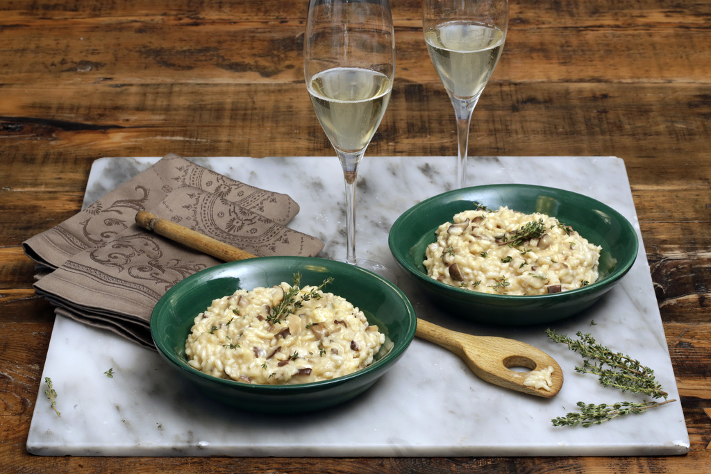 This Oct. 11, 2016 photo shows Champagne risotto at the Institute of Culinary Education in New York. This dish is from a recipe by Eliz...