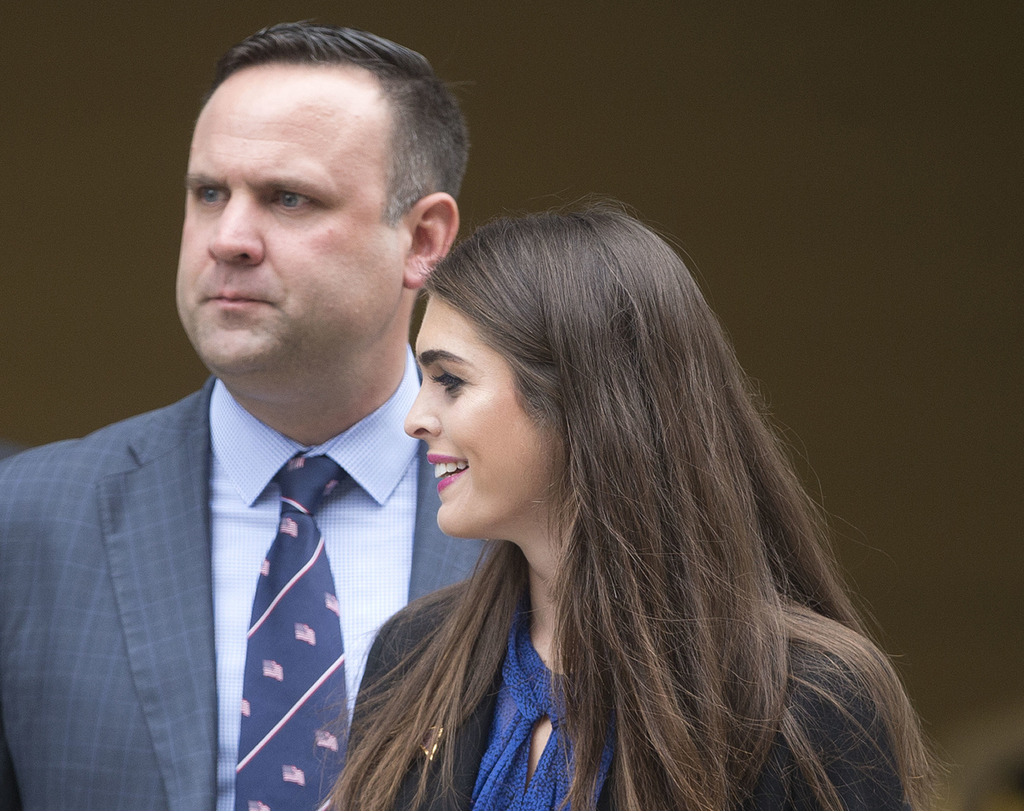 FILE - In this May 12, 2016 file photo, Republican presidential candidate Donald Trump's campaign communications manager Hope Hicks, ri...