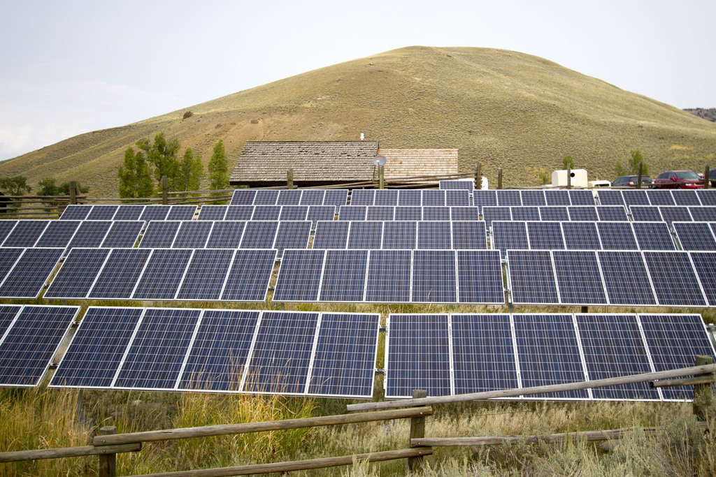 FILE - This Aug. 27, 2015, file photo shows a solar power array that is part of sustainability improvements at the Lamar Buffalo Ranch ...