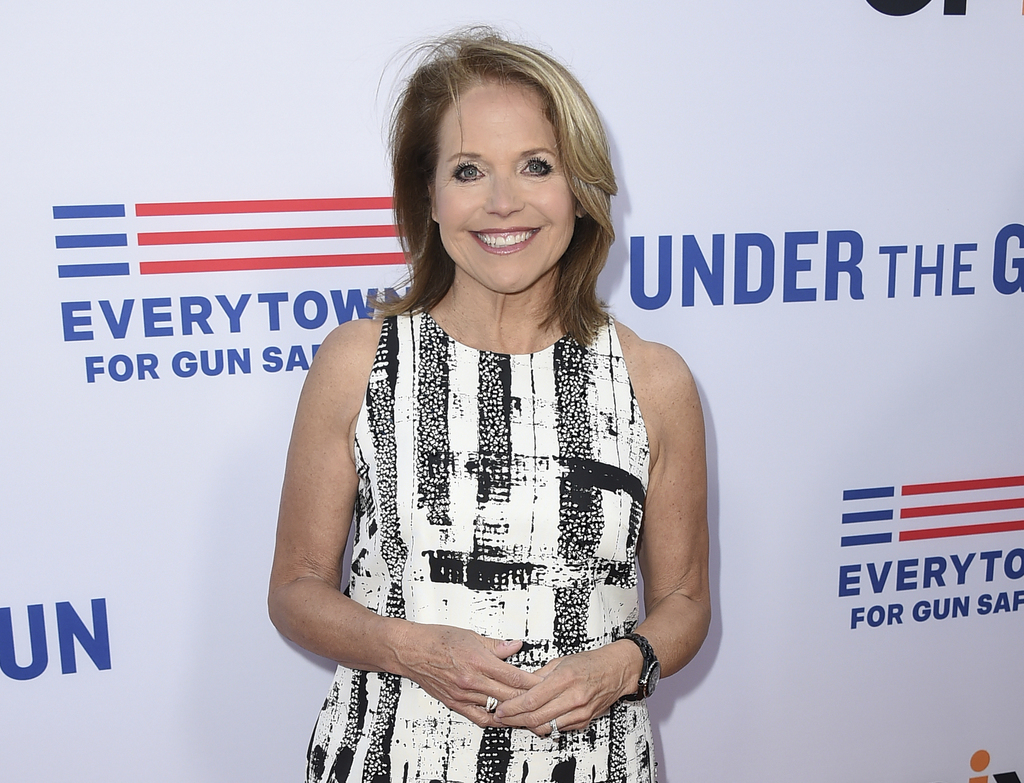 """FILE - In this May 3, 2016, file photo, Katie Couric attends the LA premiere of her documentary """"Under The Gun"""" in Beverly Hills, Calif..."""