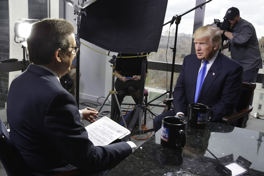 """FILE - In this Saturday, Dec. 10, 2016 file photo, President-elect Donald Trump, right, is interviewed by Chris Wallace of """"Fox News Su..."""