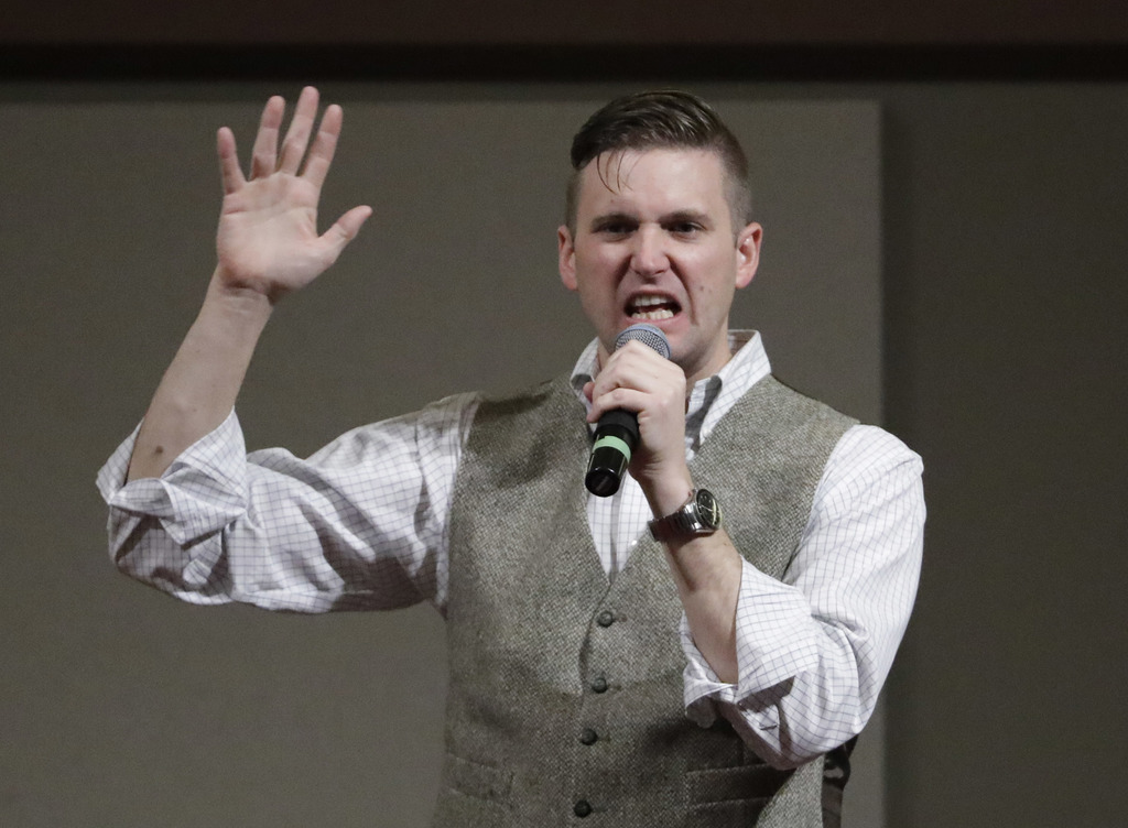 FILE - In this Dec. 6, 2016 file photo, Richard Spencer, who leads a movement that mixes racism, white nationalism and populism, speaks...