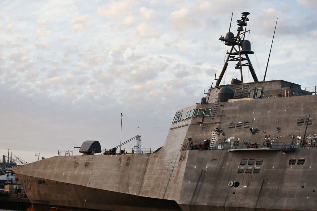 In this Wednesday, Nov. 30, 2016, photo, the USS Gabrielle Giffords, a Naval littoral combat ship built at the Austal USA shipyards, do...