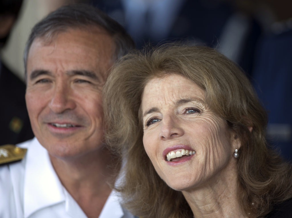 U.S. Adm. Harry Harris, United States Pacific Command, left, and Caroline Kennedy, U.S. Ambassador to Japan, watch Japan's Prime Minist...