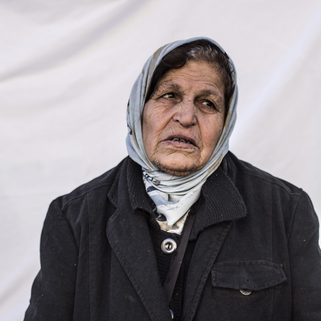 Raheel Georgis, 72, poses for a portrait in a camp where Christians displaced by Islamic State militants are living, in Irbil, Iraq, Fr...