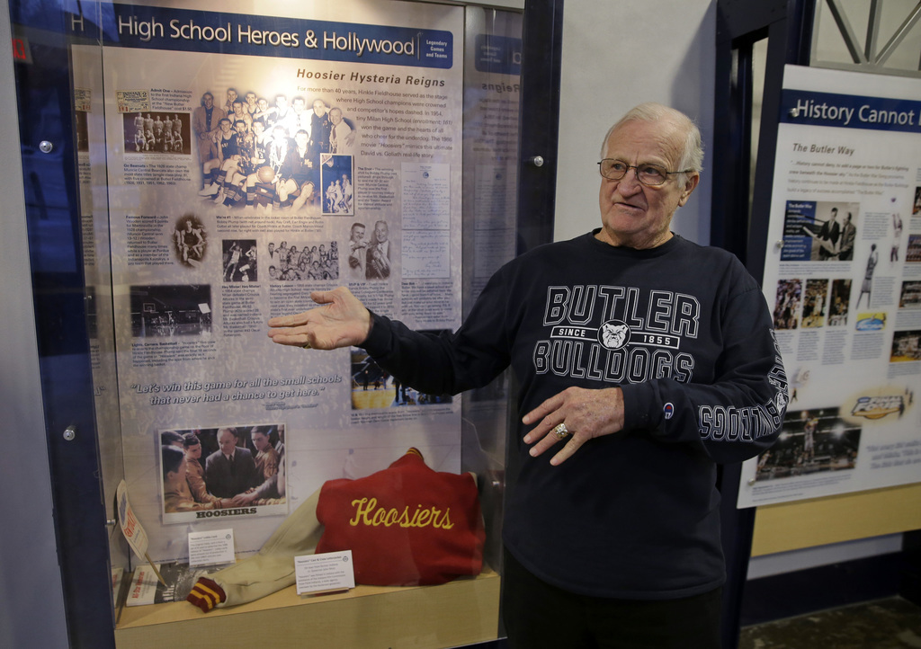 """In this Tuesday, Dec. 20, 2016 photo, Bobby Plump, star of the 1954 Milan state championship basketball team featured in the movie """"Hoo..."""