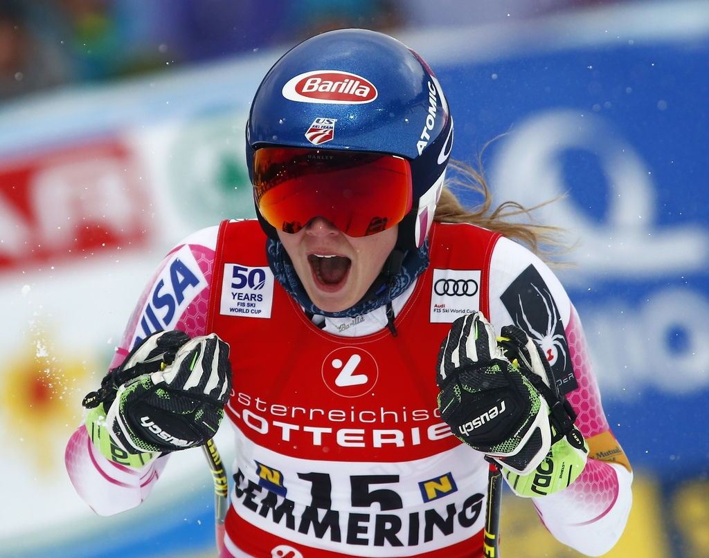 United States's Mikaela Shiffrin celebrates after completing the second run of an alpine ski, women's World Cup Giant Slalom, in Semmer...