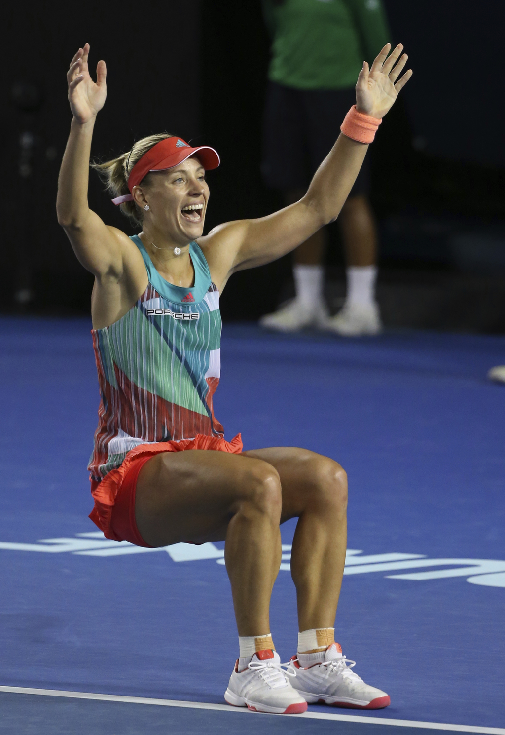FILE - In this Jan. 30, 2016, file photo, Angelique Kerber, of Germany, celebrates after defeating Serena Williams, of the United State...