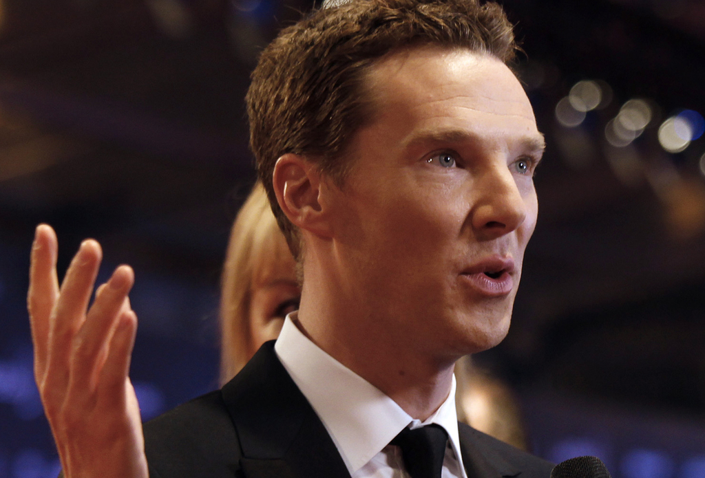 FILE - In this file photo dated Wednesday, April 15, 2015, British actor Benedict Cumberbatch arrives to host the Laureus World Sports ...