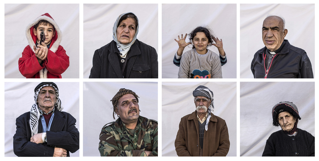 COMBO- this combination of eight portraits shows residents of a camp where Christians displaced by Islamic State militants are living, ...