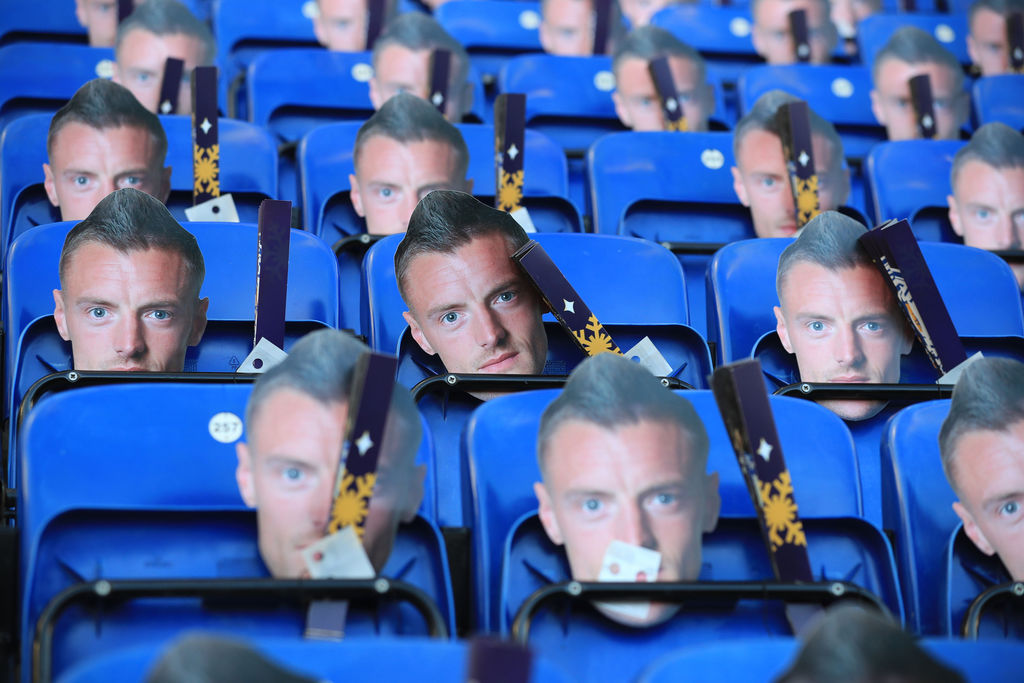 Face masks of Leicester City's Jamie Vardy are left on seats for fans before the English Premier League soccer match between Leicester ...