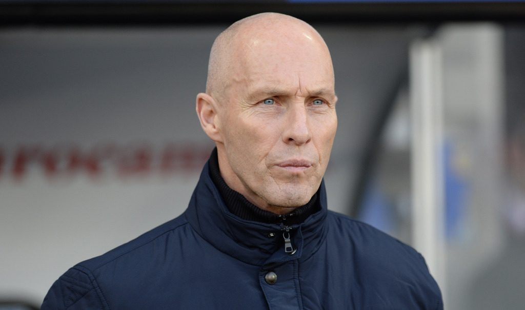 Swansea manager Bob Bradley watches the action during their English Premier League soccer match against West Ham United at the Liberty ...