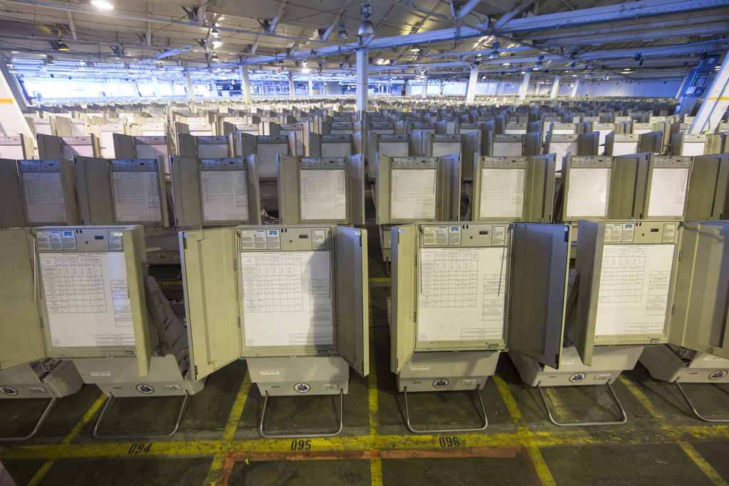 This Oct. 14, 2016 photo shows voting machines to be used in the upcoming presidential election in Philadelphia. Pennsylvania is one of...