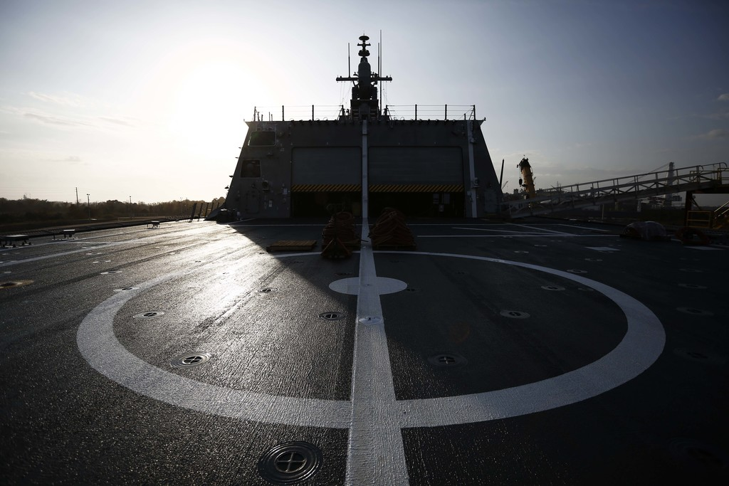 In this Wednesday, Nov. 30, 2016, photo, the landing pad is seen on the back of the USS Gabrielle Giffords, a Naval littoral combat shi...