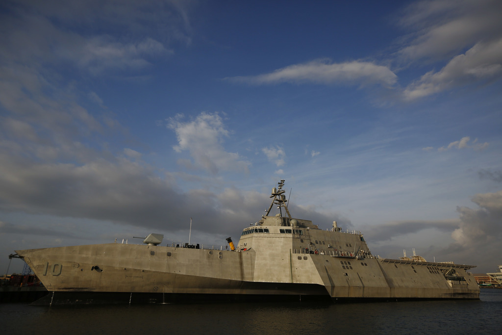 This Wednesday, Nov. 30, 2016, photo shows the USS Gabrielle Giffords, a Naval littoral combat ship built at the Austal USA shipyards, ...