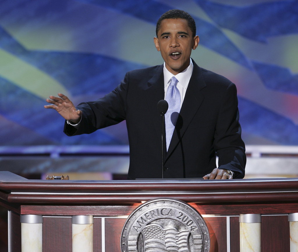 FILE - In this July 27, 2004, file photo, then-Democratic candidate for Illinois Senate Barack Obama delivers the keynote address at th...