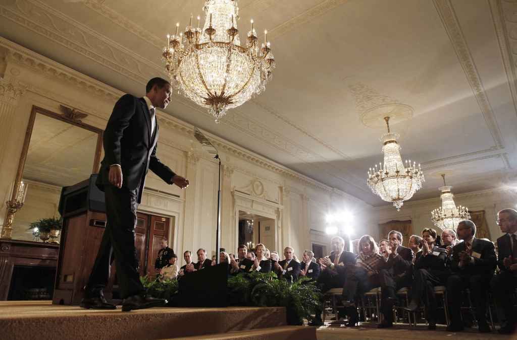 FILE - In this Feb. 13, 2009, file photo, President Barack Obama steps off the stage after addressing business leaders about the econom...