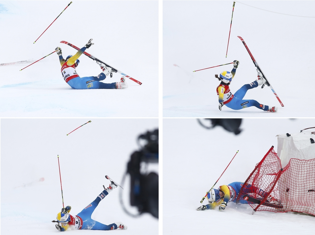 This four-picture combo Sweden's Maria Pietilae Holmner crashing during the second run of an alpine ski, women's World Cup Giant Slalom...