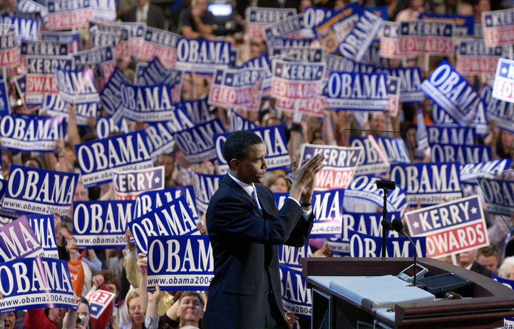 FILE - In this July 27, 2004, file photo, Barack Obama, then-candidate for the Senate from Illinois, speaks to delegates during the Dem...