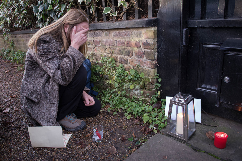 A George Michael fan  reacts outside Michael's  London home, Monday Dec. 26, 2016.  George Michael, the British pop superstar who reach...
