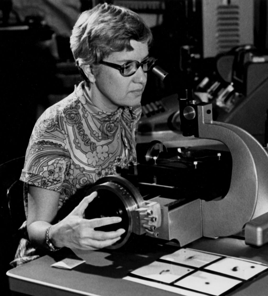 In this image taken in the 1970s and provided by the Carnegie Institution of Washington, Vera Rubin uses a measuring engine. Rubin, a p...