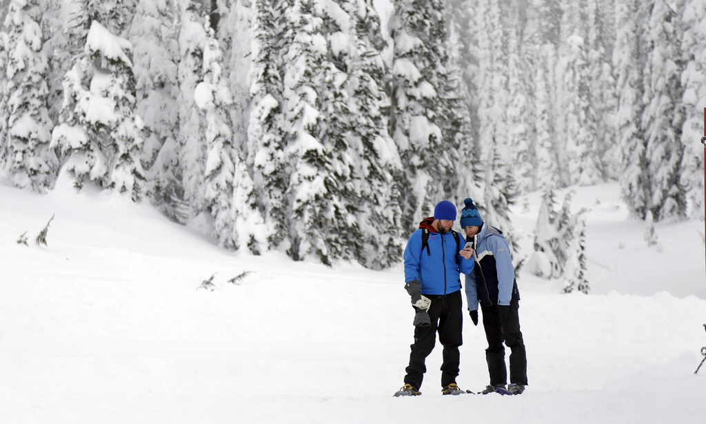In this photo taken Friday, Dec. 16, 2016, snowshoers look at a cellphone while in the backcountry near the Paradise area at Mount Rain...