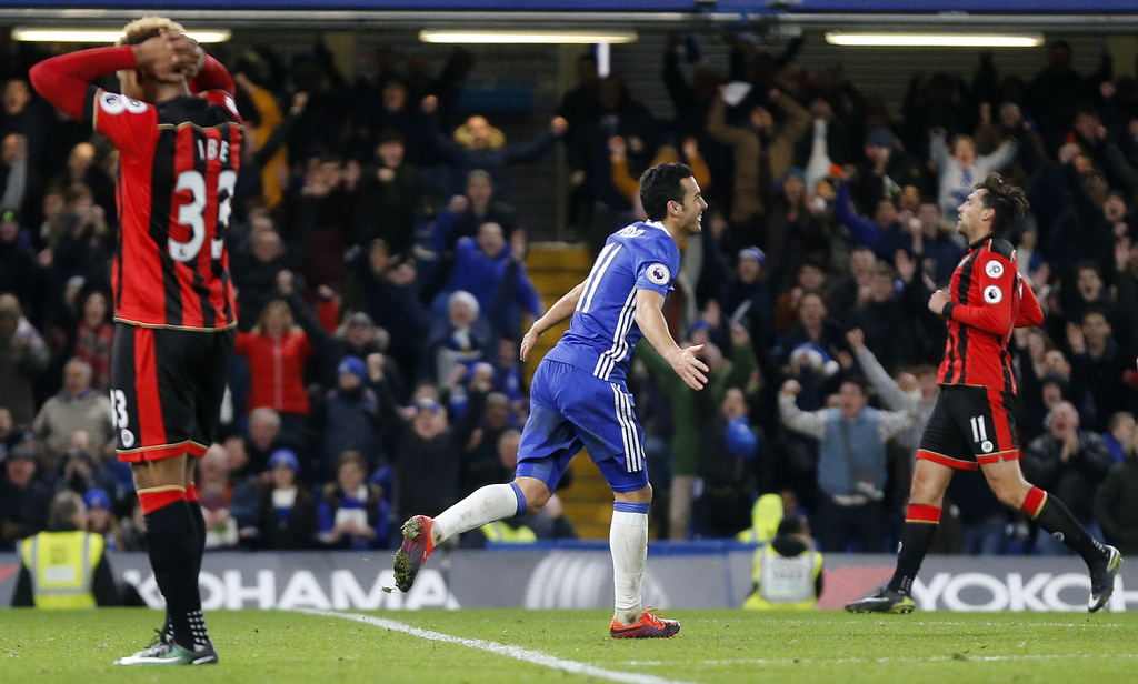 Chelsea's Pedro celebrates after scoring during the English Premier League soccer match between Chelsea and Bournemouth at Stamford Bri...