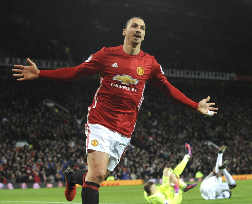 Manchester United's Zlatan Ibrahimovic,  celebrates after scoring his side second goal during the English Premier League soccer match b...