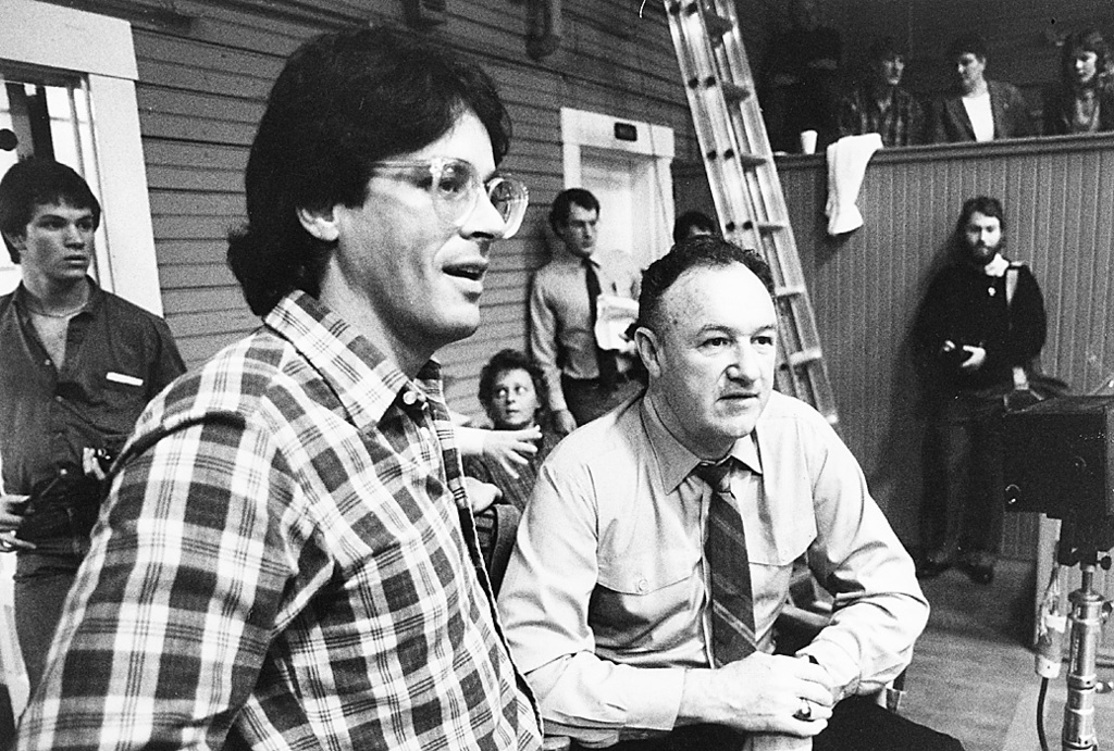 """FILE -  In this Nov. 12, 1985 file photo, """"Hoosiers"""" writer and Bloomington, Ind., native Angelo Pizzo, left, talks with actor Gene Hac..."""