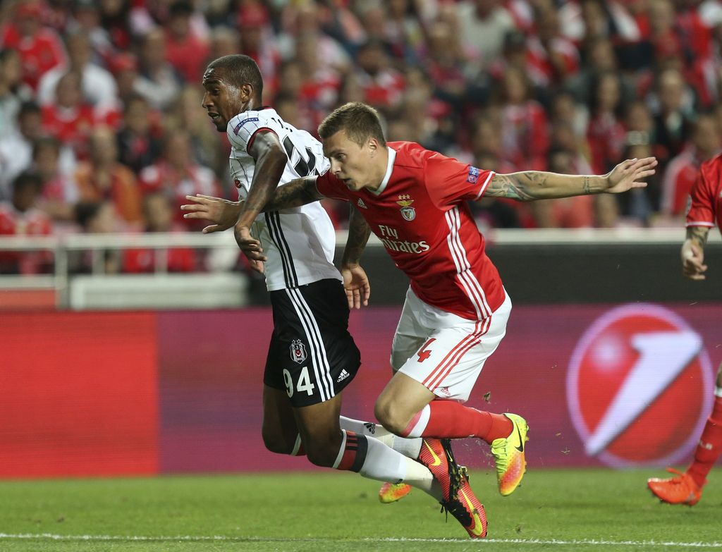 FILE - In this file photo dated Tuesday, Sept. 13, 2016, Benfica's Victor Lindelof, right, stops Besiktas' Talisca during the Champions...