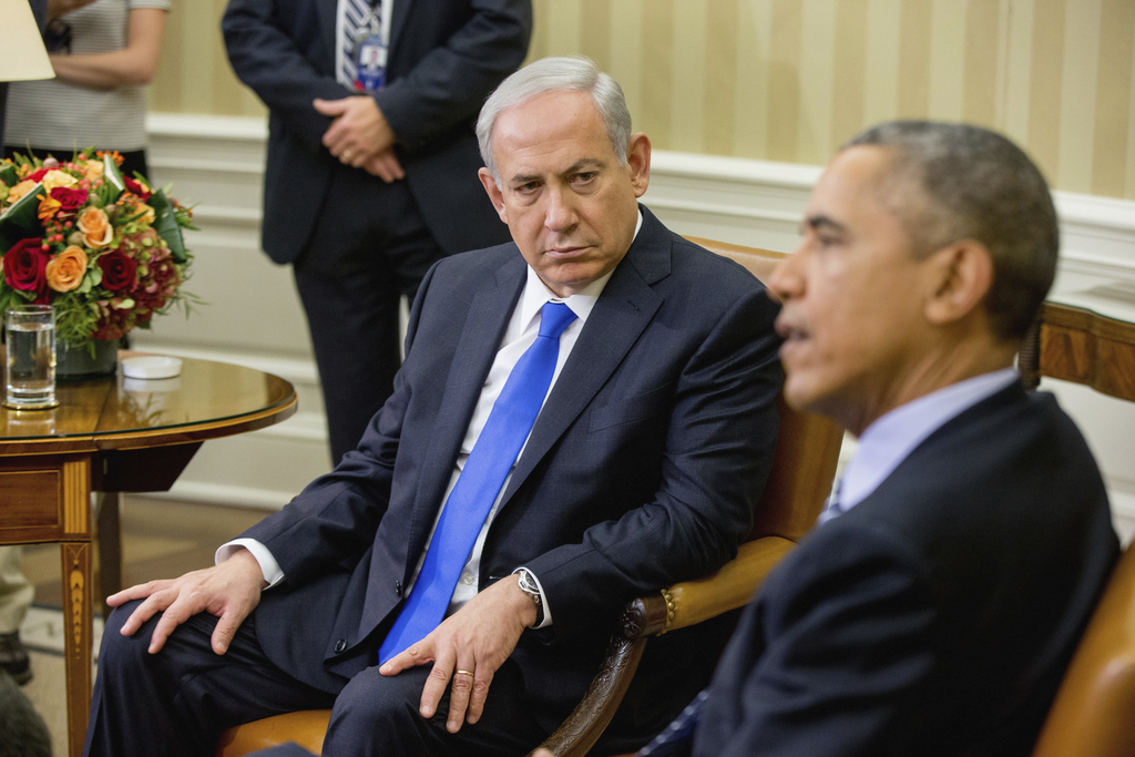 FILE -- In this Nov. 9, 2015 file photo, President Barack Obama meets with Israeli Prime Minister Benjamin Netanyahu in the Oval Office...