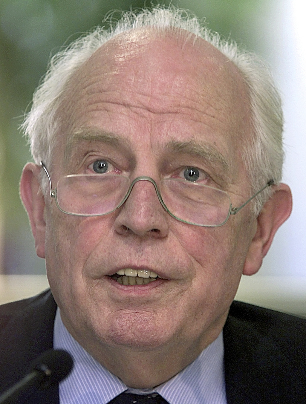 FILE - In this Nov. 15, 2001 file picture former head of Germany's central bank, Hans Tietmeyer, speaks at a news conference in Leipzig...
