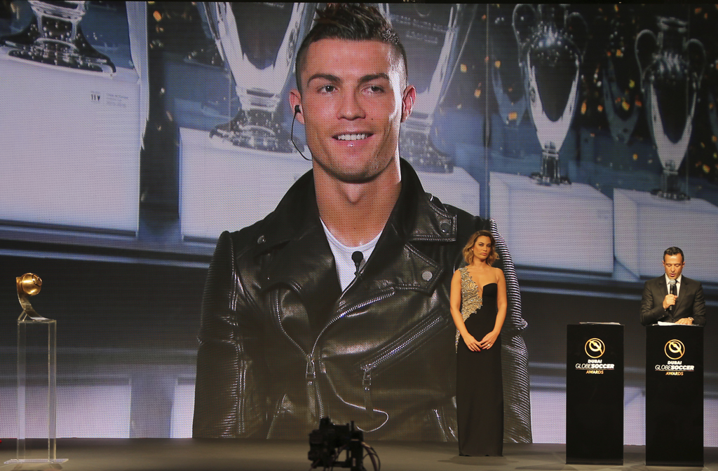 Cristiano Ronaldo speaks, via a video link live from Madrid after he was selected as the Best Player of the Year, during Dubai Football...