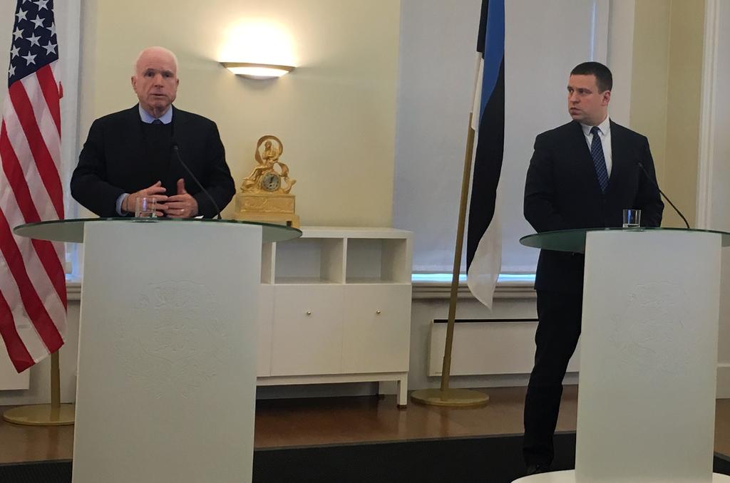 U.S. Senator John McCain, left, speaks during a joint news conference with the Estonian Prime Minister Juri Ratas in Tallinn, Tuesday, ...