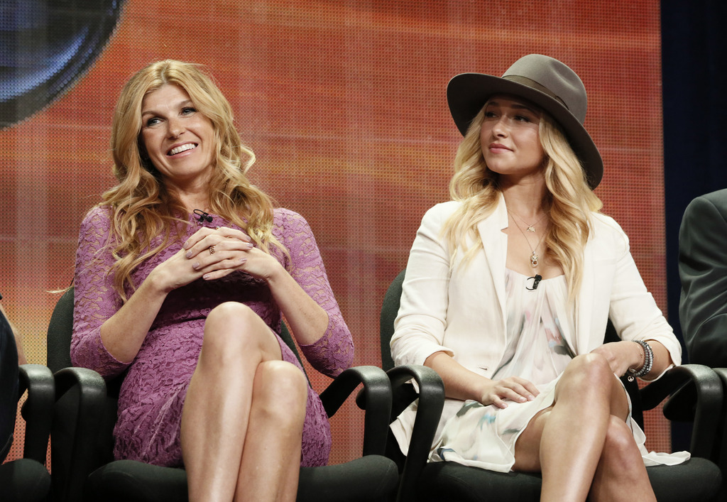 """FILE - In this July 27, 2012 file photo, cast members Connie Britton and Hayden Panettiere attend the """"Nashville"""" panel at the Disney A..."""