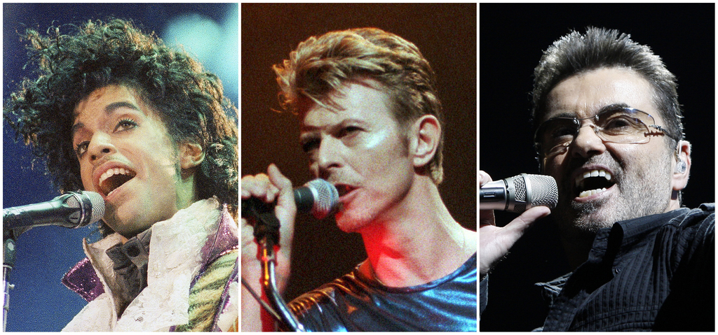 This photo combination shows performances by pop music icons, from left, Prince in 1985, David Bowie in 1995, and George Michael in 200...