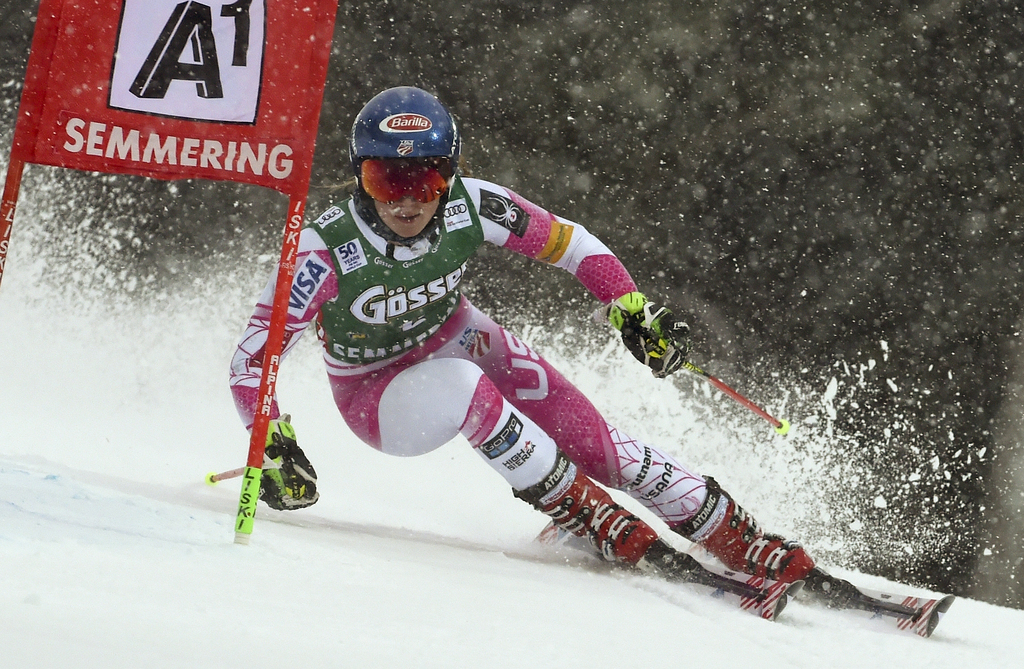 United States' Mikaela Shiffrin speeds down the course during the first run of an alpine ski, women's World Cup Giant Slalom, in Semmer...