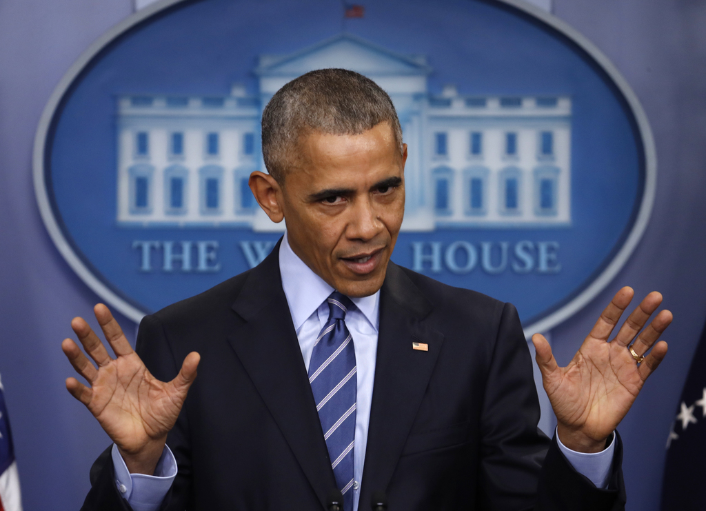 FILE - In this Dec. 16, 2016 file photo, President Barack Obama speaks during a news conference in the briefing room of the White House...