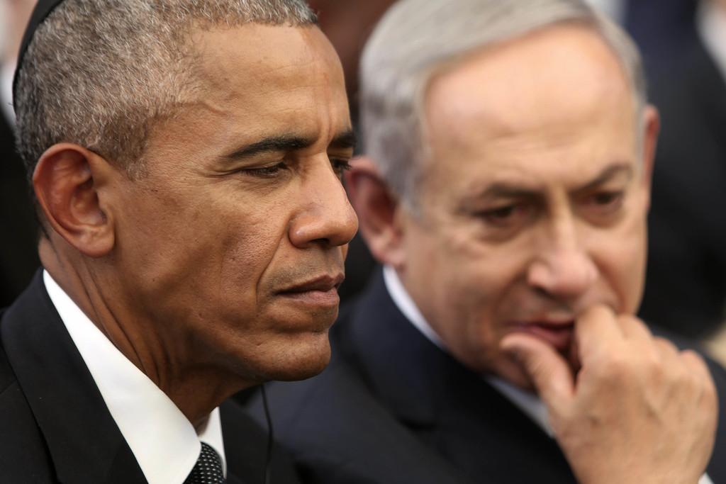 FILE -- In this Sept. 30, 2016 file photo, US President Barack Obama, left, and Israeli Prime Minister Benjamin Netanyahu talk during t...
