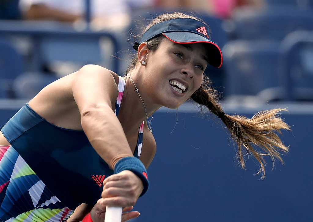 FILE - In this Tuesday, Aug. 30, 2016 file photo, Ana Ivanovic of Serbia serves to Denisa Allertova of the Czech Republic, during the f...