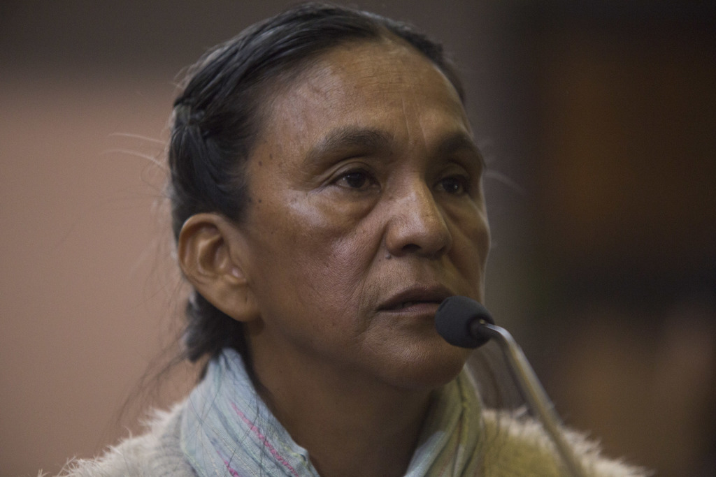 Activist Milagro Sala speaks before being given a guilty verdict at a courtroom in San Salvador de Jujuy, in the northern Argentine pro...