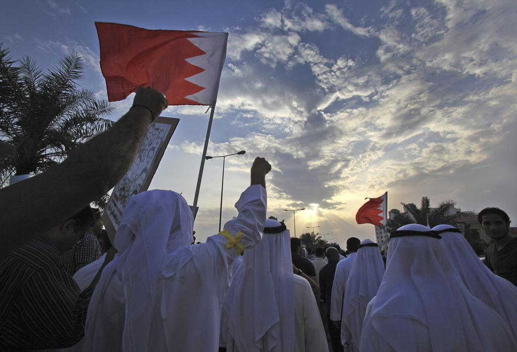 FILE- In this Friday, March 21, 2014 file photo, Bahraini pro-democracy protesters wave signs and pictures of prisoners and people kill...