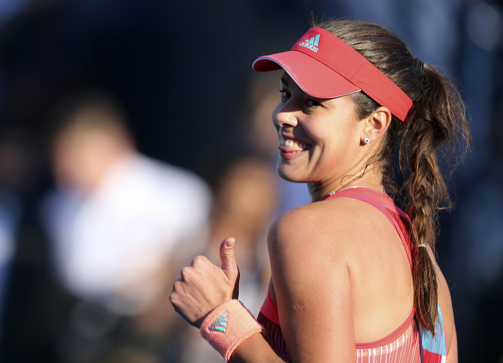 FILE - In this Tuesday, Feb. 16, 2016 file photo, Ana Ivanovic from Serbia celebrates after she beat Daria Gavrilova from Australia dur...