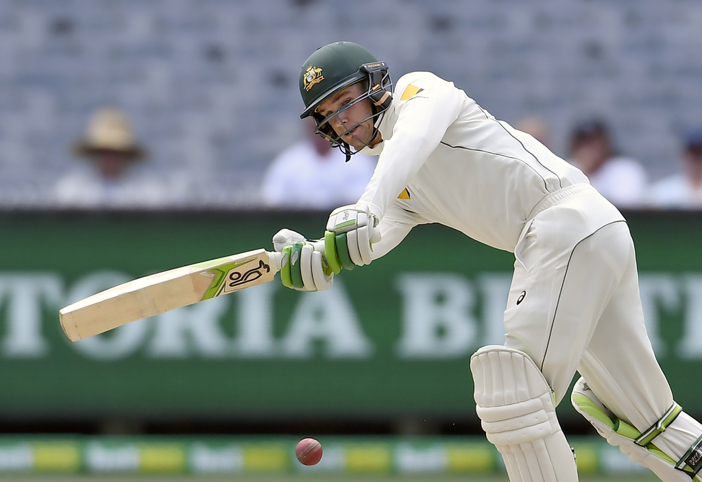 Australia's Peter Handscomb bats against Pakistan on the fourth day of their second cricket test in Melbourne, Australia, Thursday, Dec...