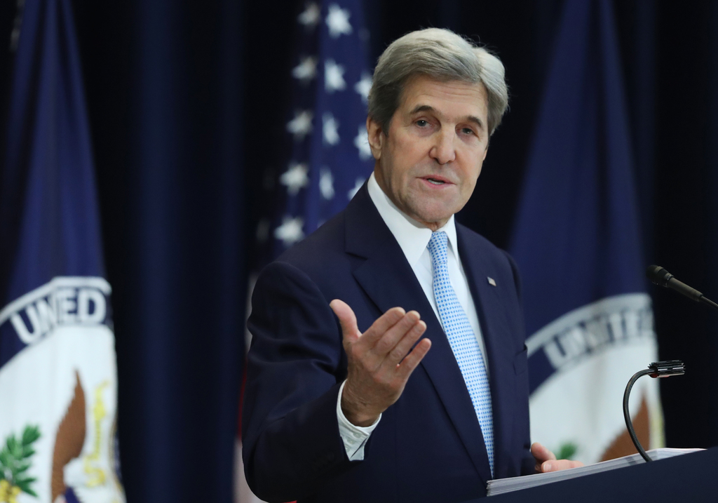 Secretary of State John Kerry speaks about Israeli-Palestinian policy, Wednesday, Dec. 28, 2016, at the State Department in Washington....